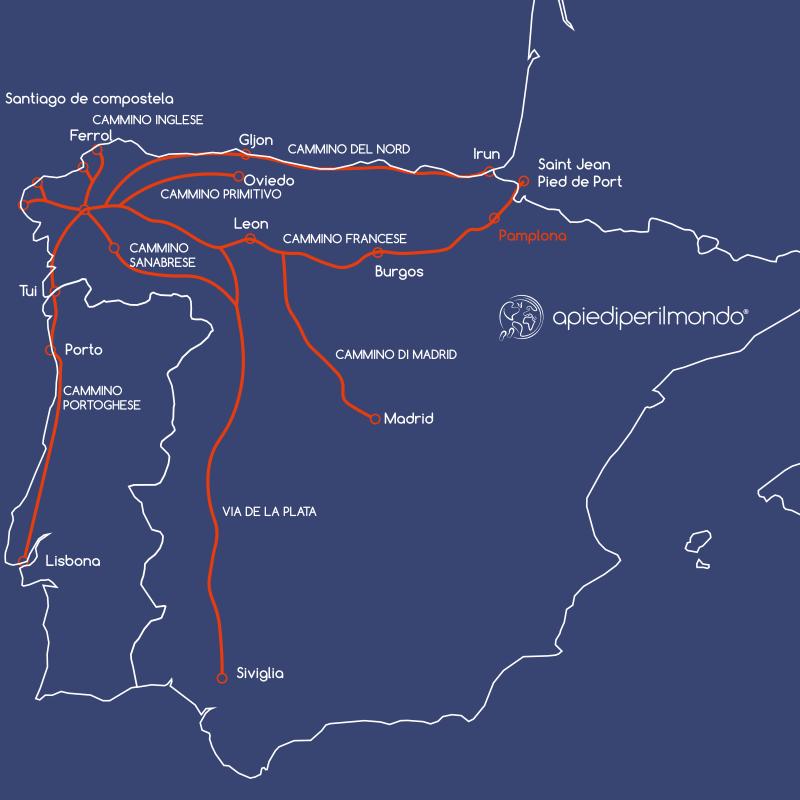 Mappa Cammini di Santiago